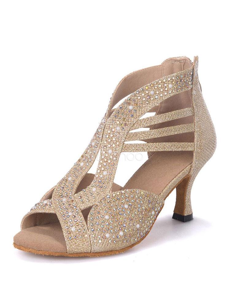 Glitter Ballroom Dance Shoes Peep Toe Cut Out Dance Shoes Latin Dancing Shoes