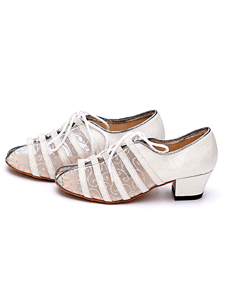 Glitter Ballroom Shoes Round Toe Lace Up Dance Shoes Latin
