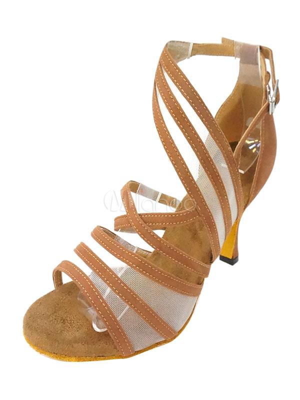Women Dance Shoes Brown Open Toe Strappy Salsa Dance Shoes Ballroom Shoes