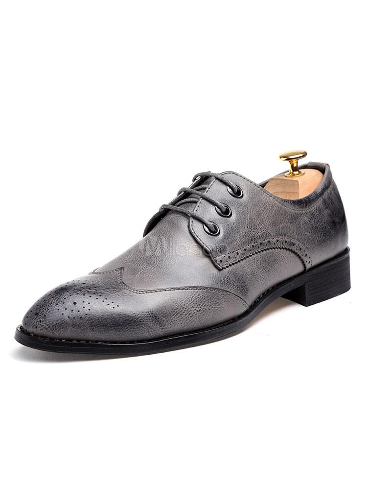 Zapatos En Con Cordones Punta De Vestir Grises Hombres yOvmNn80w