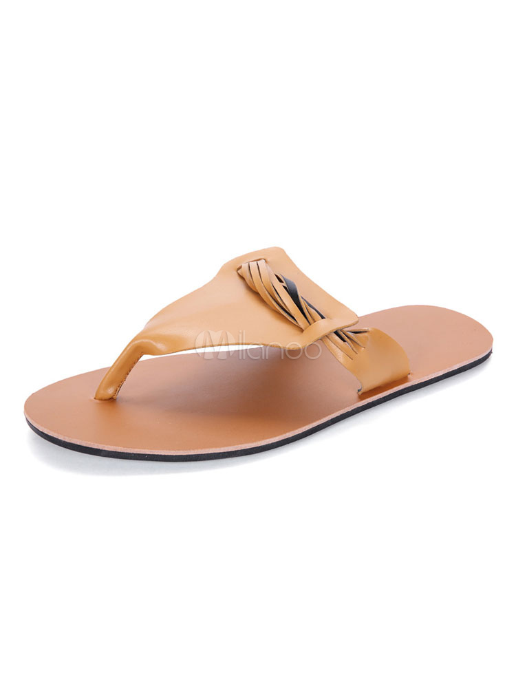 Buy Women Flip Flops Light Brown Thong Detail Backless Sandals Beach Sandal Shoes for $25.49 in Milanoo store