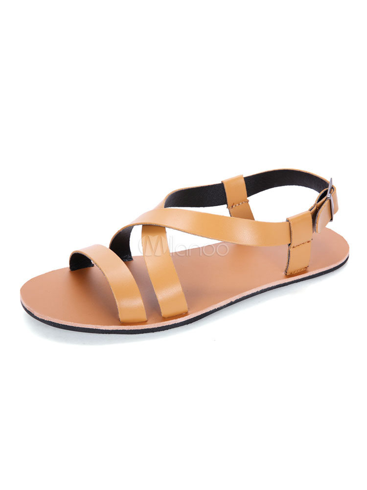 Buy Men Flat Sandals Light Brown Open Toe Strappy Sandal Shoes Beach Sandals for $29.74 in Milanoo store