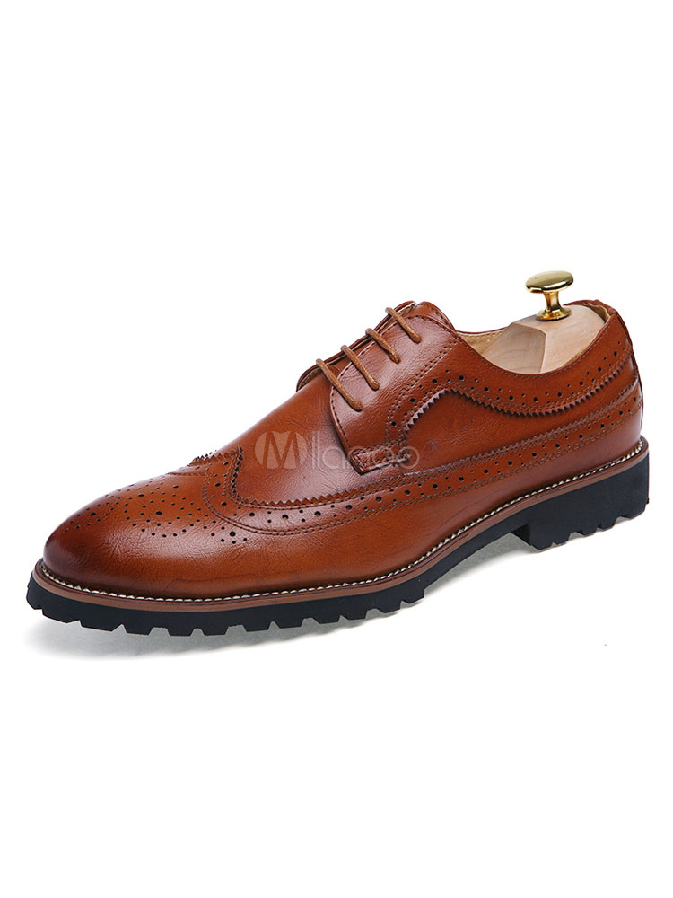 Brown Dress Shoes Men Brogue Shoes Pointed Toe Lace Up Casual Business Shoes