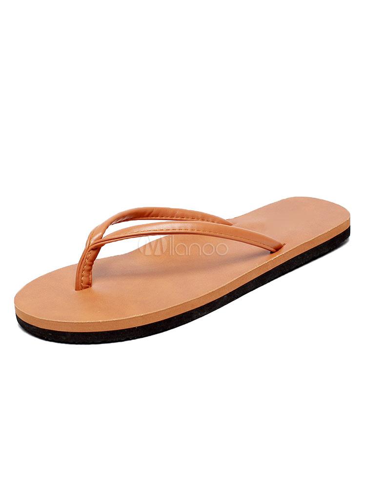 Buy Men Flip Flops Brown Beach Sandals Open Toe Backless Sandal Slippers for $12.74 in Milanoo store