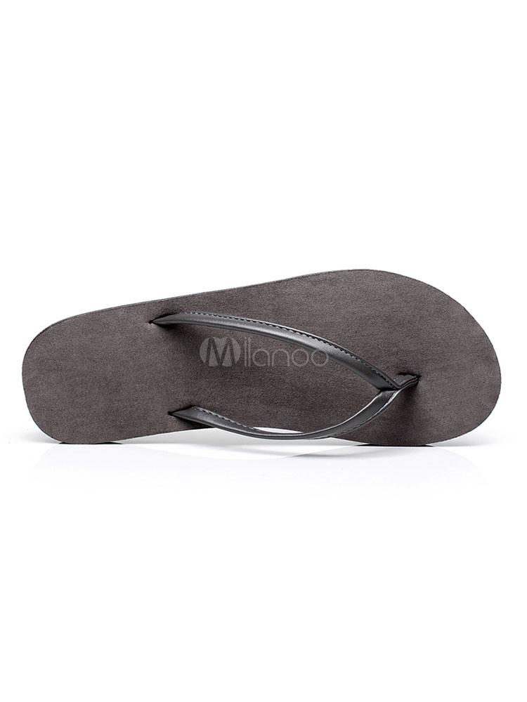 Chanclas para mujer Sandalias con espalda sin respaldo de color gris plateado con detalle de sandalias de playa