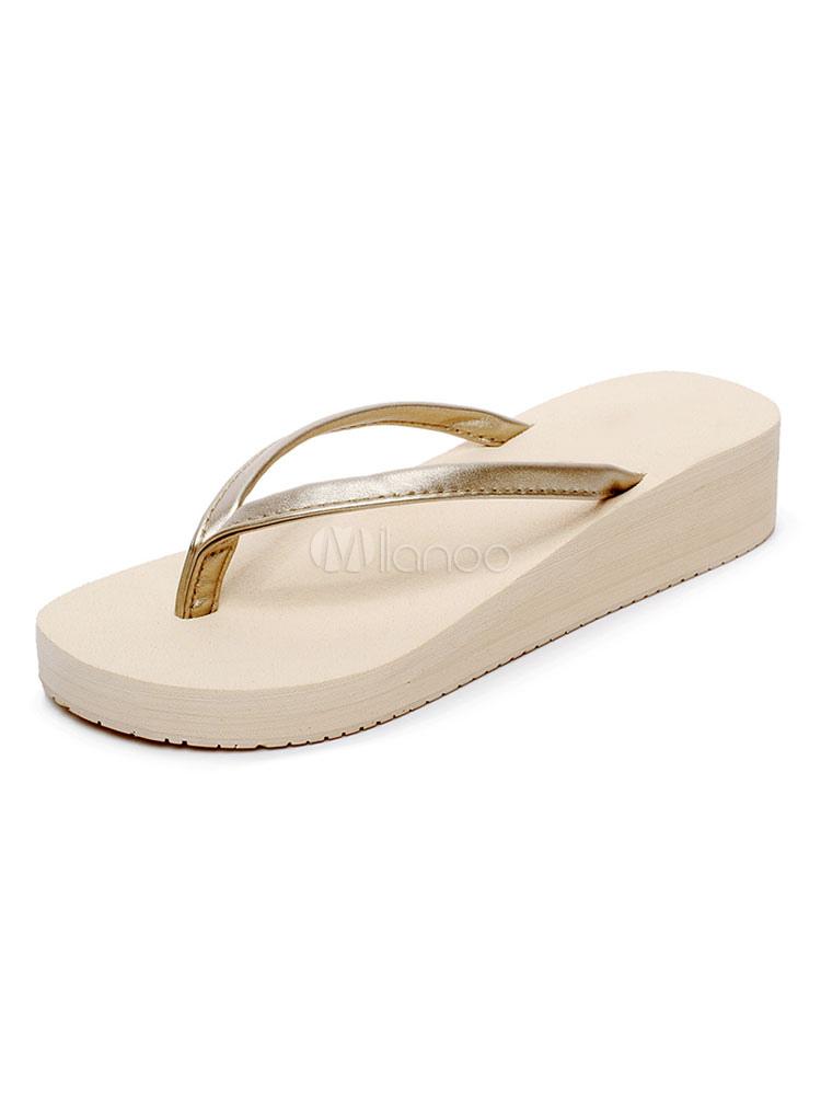 Buy Gold Flip Flops Women Sandal Slippers Open Toe Backless Beach Sandals for $12.74 in Milanoo store