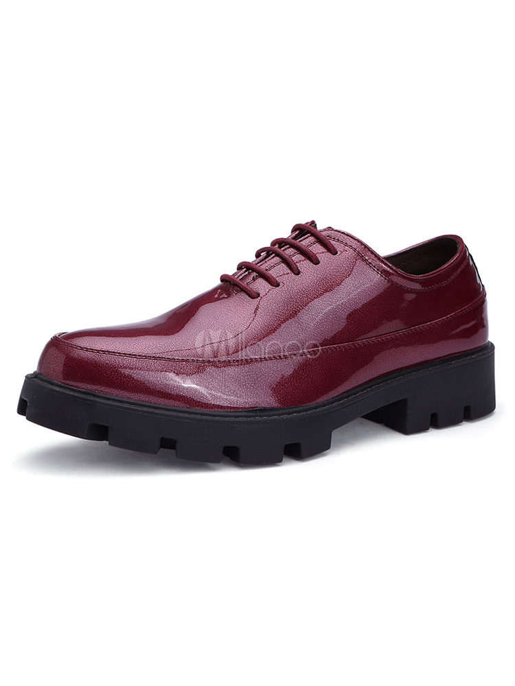 Burgundy Casual Shoes Men Shoes Pointed