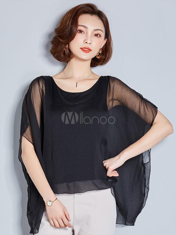 Women Black Blouses Short Sleeve Printed Oversized Chiffon Top
