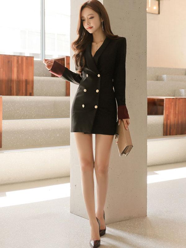 Blazer mujer con vestido corto