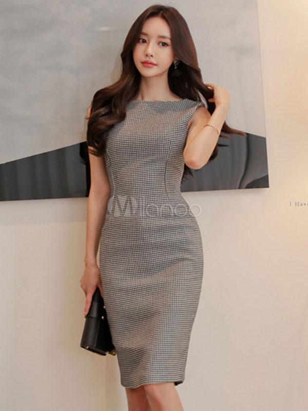 Grey Bodycon Dress Sleeveless Houndstooth Summer Pencil Dress