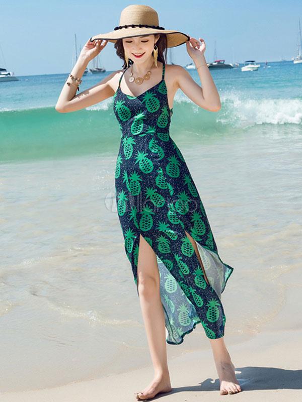 Para estrenar d0a44 924c8 Boho vestido largo sin mangas gasa impresa encaje hasta Split verde playa  verano vestido