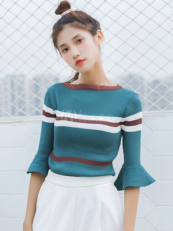 Women Pullover Sweater Flared Sleeve Bateau Striped Blue Cotton Top
