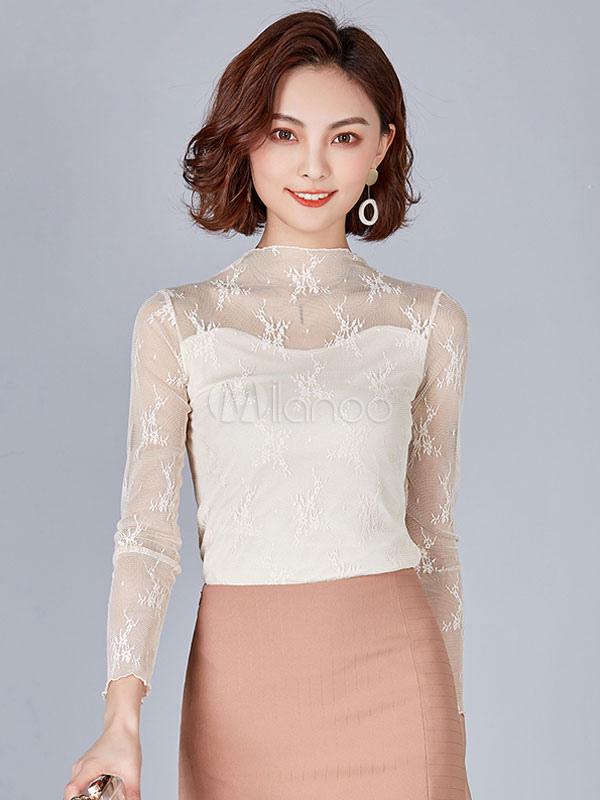 04ac93d9bf4b Blusas blancas para mujeres Blusa de manga larga con cuello alto de tul de  manga larga