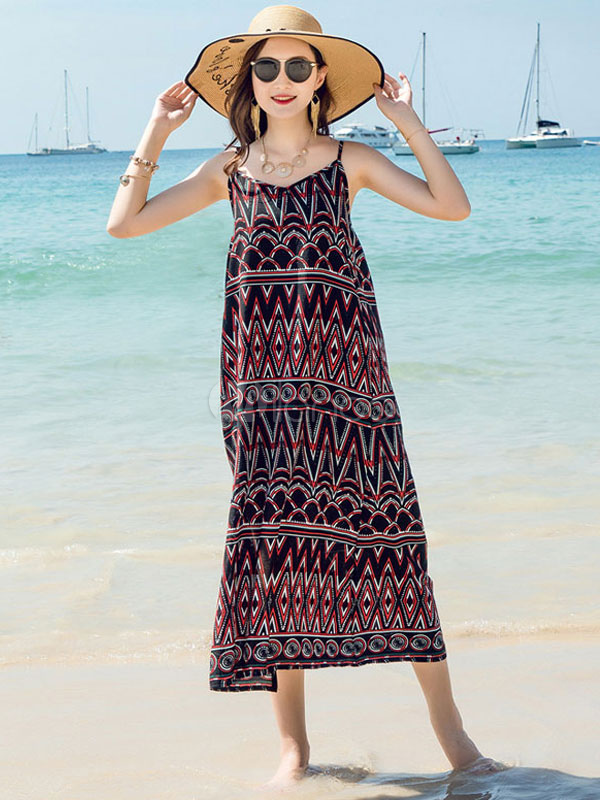 38ebf8f7611f Black Summer Dress Boho Chiffon Sleeveless Quilted Print Spaghetti Straps  Beach Maxi Dress-No.