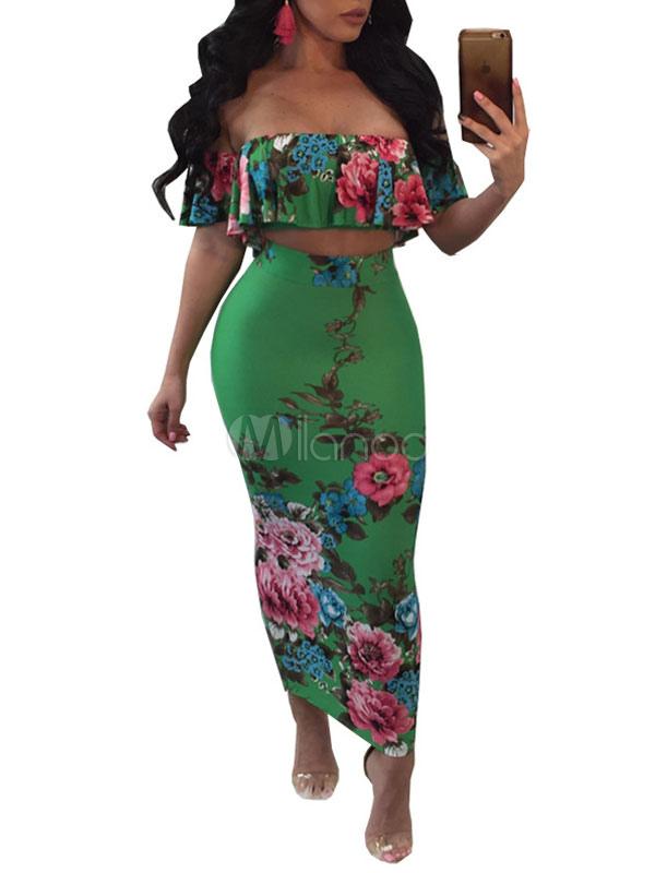 ccf04cc33 Falda de mujer conjunto de manga corta con estampado floral de Split Top  verde con falda ...