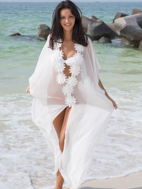 White Cover Up Women Half Sleeve Flowers Chiffon Sheer Beach Wear