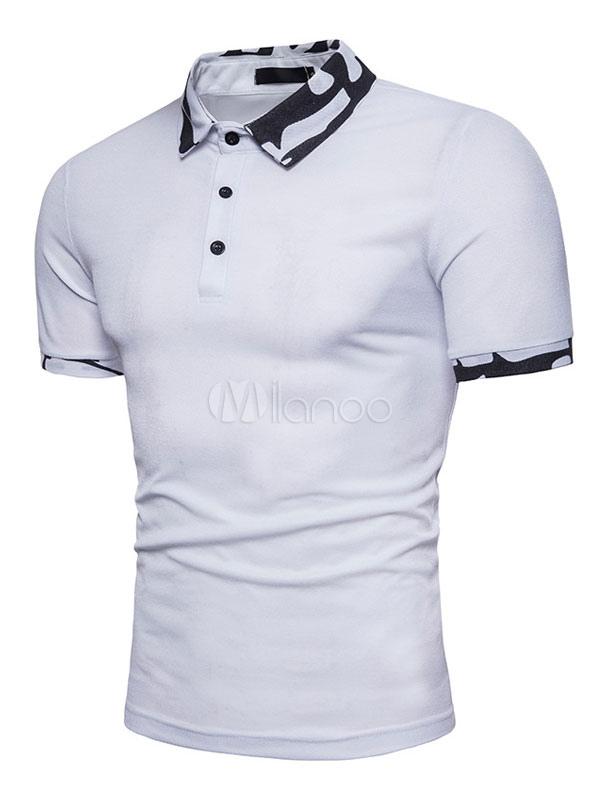 White Polo Shirt Camo Print Short Sleeve Men T Shirt Casaul