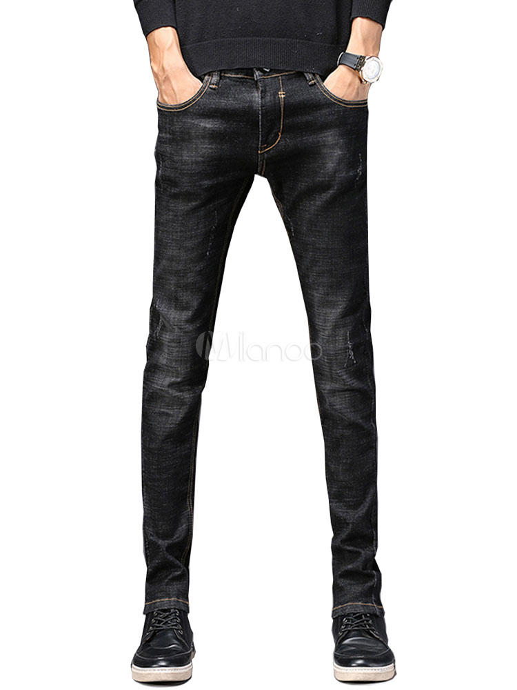 Buy Men Denim Jeans Scratch Distressed Straight Leg Pant for $31.49 in Milanoo store