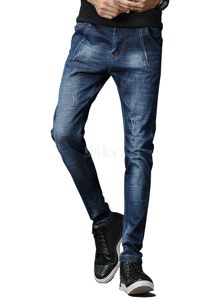 Buy Men Denim Pant Scratch Distressed Straight Leg Jeans Blue for $31.49 in Milanoo store