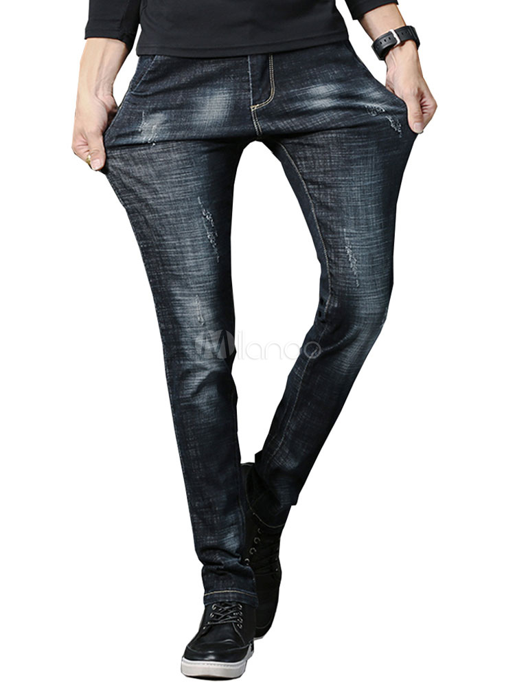 Buy Men Denim Jeans Wash Distressed Straight Leg Deep Blue Jean for $31.49 in Milanoo store