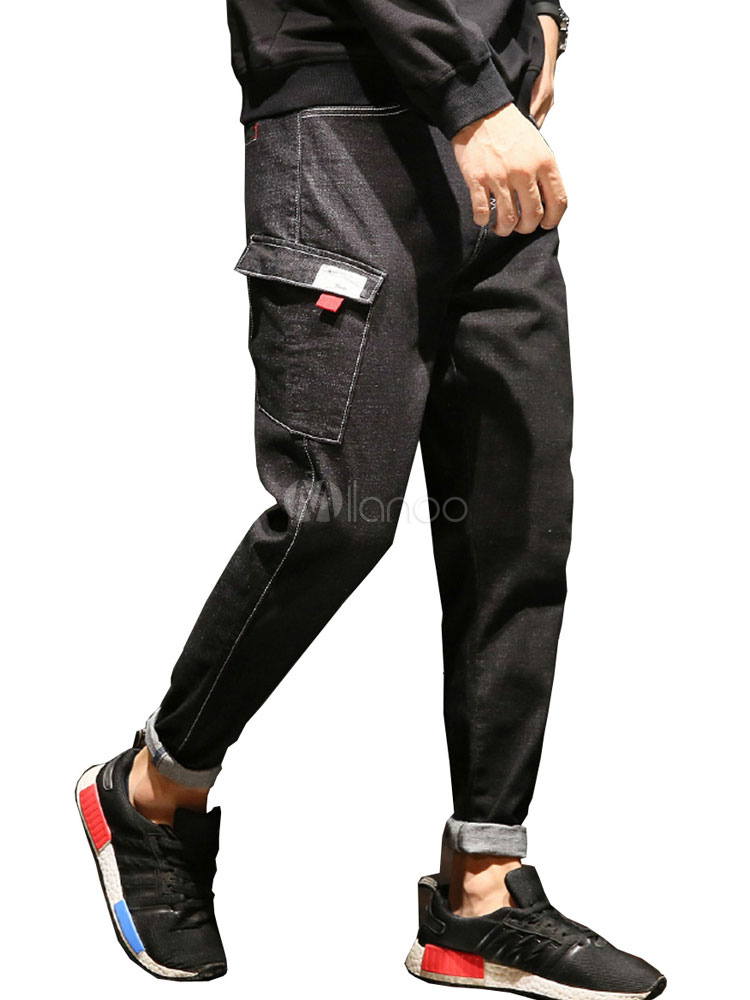 Men Black Jean Pocket Harem Style Denim Pant