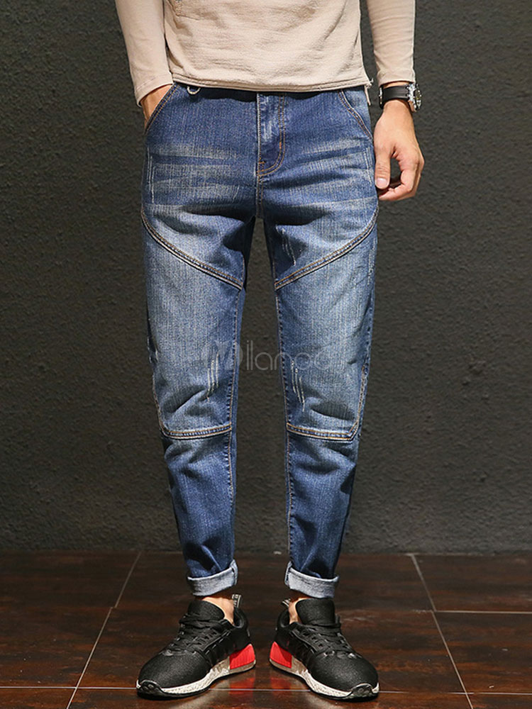 Buy Jean For Men Wash Distressed Seam Design Pocket Harem Style Blue Jeans for $35.99 in Milanoo store
