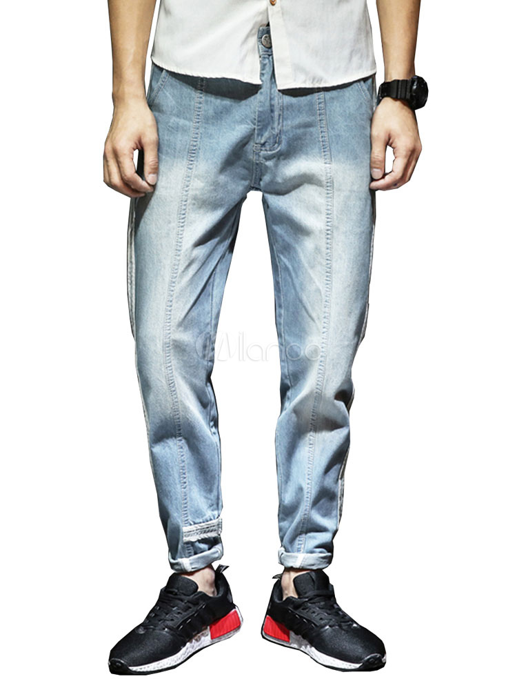 Buy Jean For Men Wash Distressed Seam Design Harem Style Light Blue Denim Jeans for $35.99 in Milanoo store