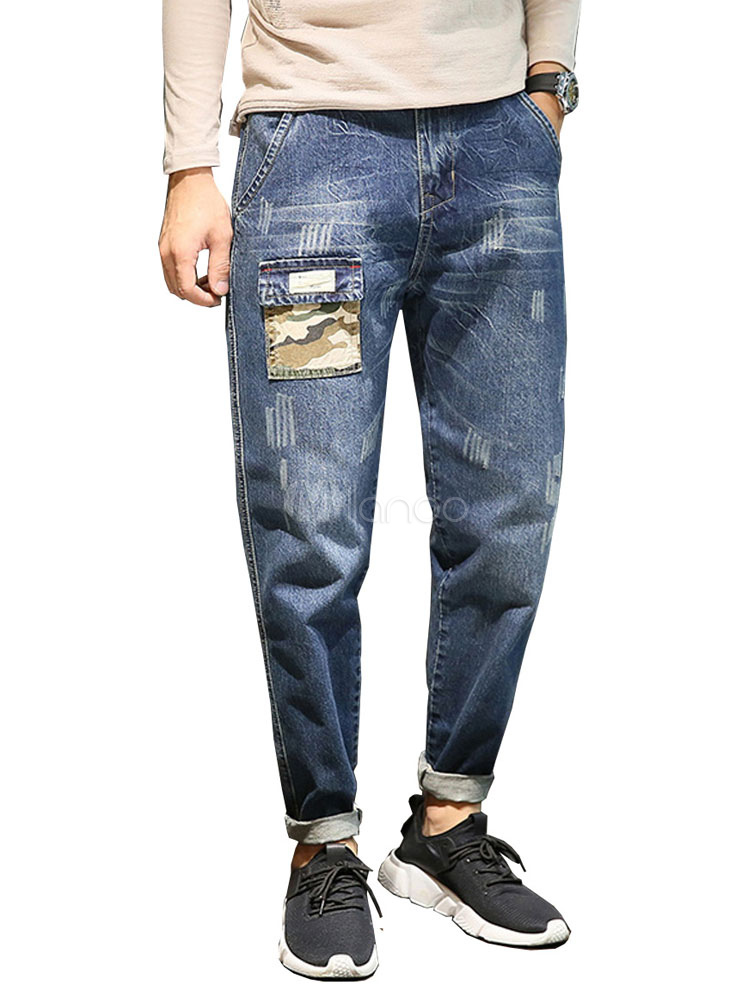blue patchwork denim jeans