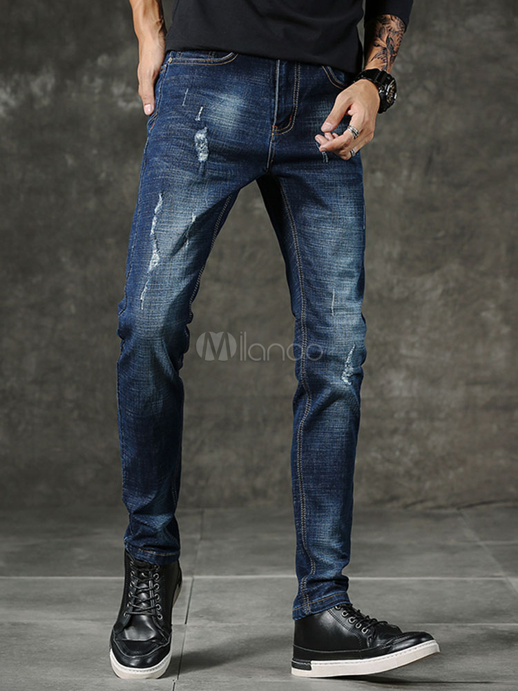 Buy Men Blue Jeans Scratch Wash Distressed Straight Leg Denim Pant for $31.49 in Milanoo store