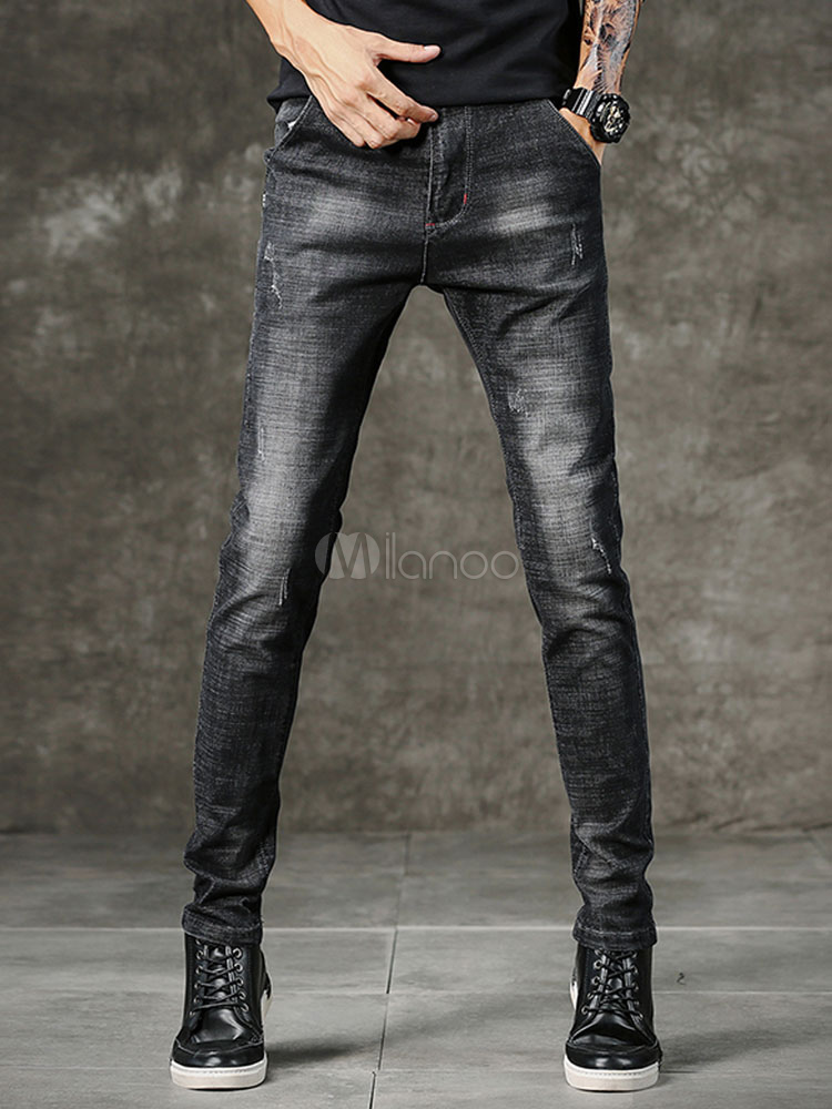 Buy Black Men Jeans Wash Distressed Scratch Straight Leg Pant Denim for $31.49 in Milanoo store