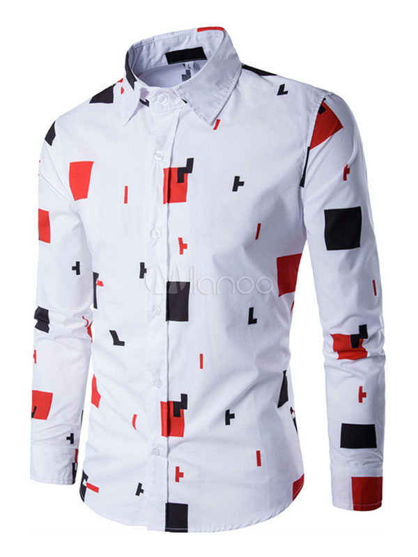 White Shirt Casual Geometric Print Long Sleeve Shirt For Men