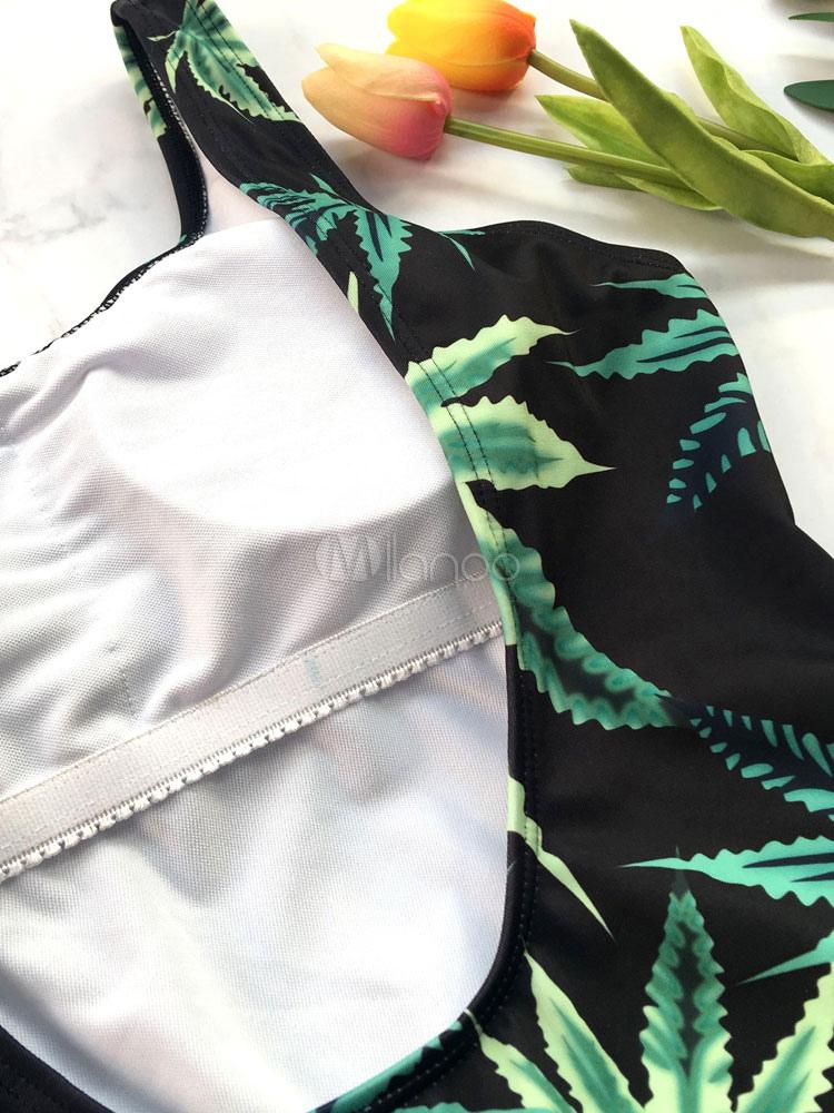33cb5fdc00f49 One Piece Swimsuit Women Tropical Print Leaf U Neck Backless Beach Bathing  Suit-No.