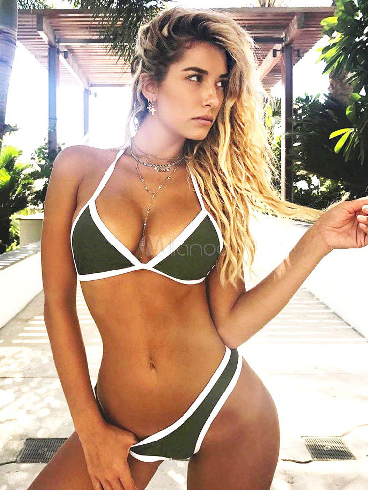 278ec716a Sexy Triangle Bikini Swimsuit Halter Hunter Green Two Tone Women Beach  Bathing Suit-No.