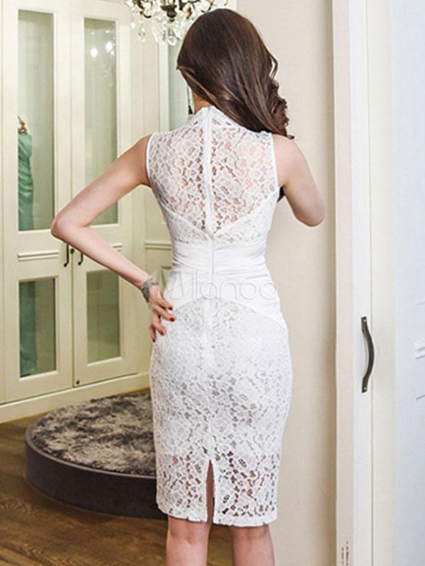 ac289fbfafd6 Vestido de encaje blanco Vestido ajustado sin mangas Vestido sin mangas con  cuello en V sin mangas