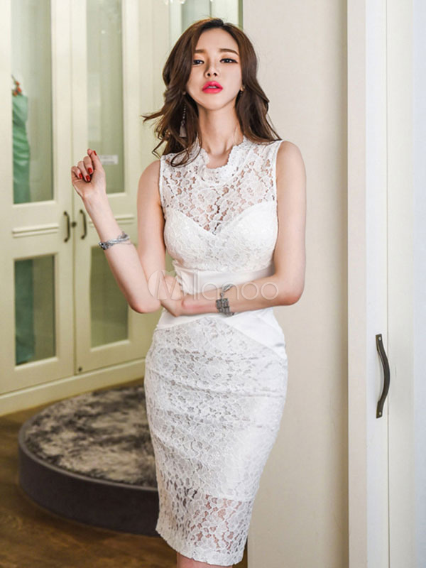 Buy White Lace Dress Women Bodycon Dress Stand Collar Sleeveless Slim Fit Sheath Dress for $42.74 in Milanoo store
