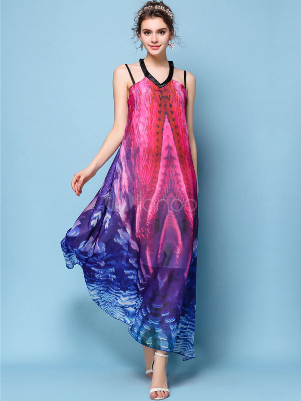 Buy Rose Maxi Dress Women Chiffon Dress V Neck Sleeveless Printed Long Dress for $28.89 in Milanoo store