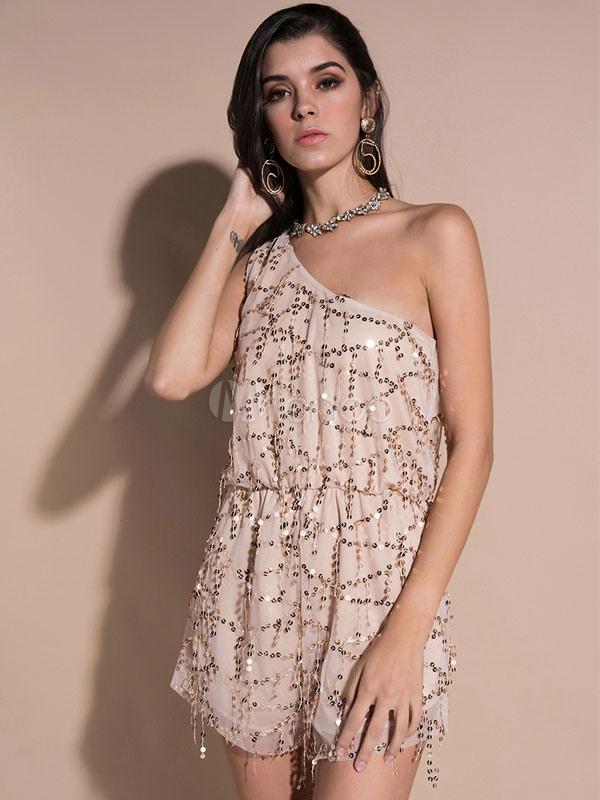 5a81ff8787e Lentejuelas sin mangas atractivas de las mujeres un hombro Mono corto  asimétrico del verano del albaricoque ...
