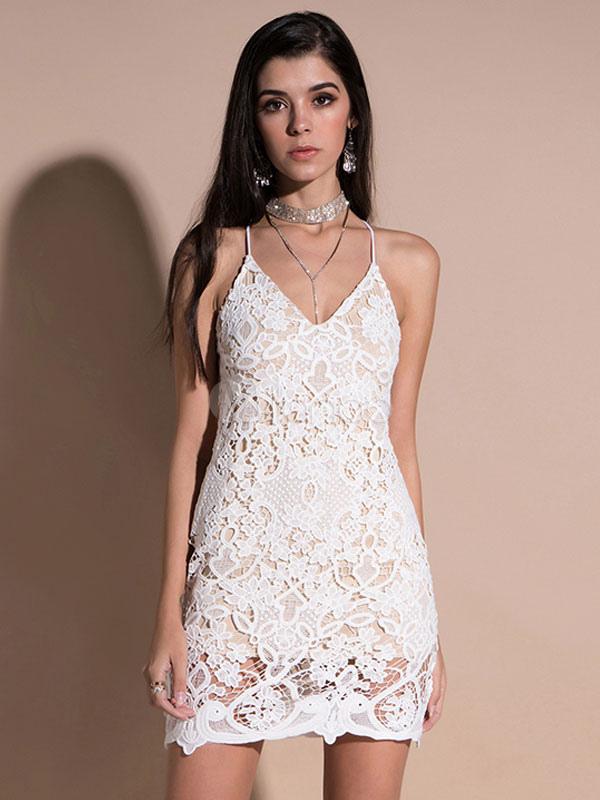 56f63d404 Vestido corto de encaje blanco Vestido corto de mujer sin mangas Vestido  ajustado sin mangas- ...