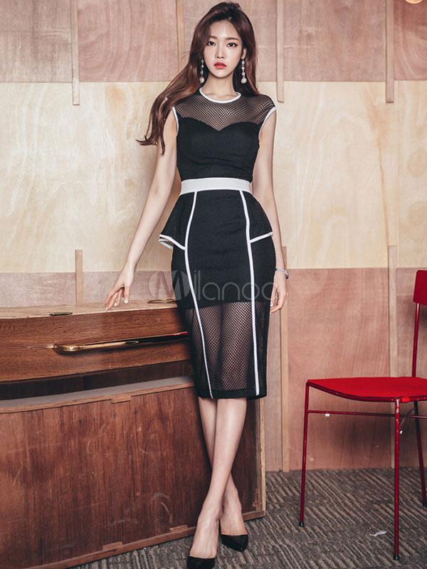 Buy Black Bodycon Dress Women Dress Round Neck Sleeveless Peplum Slim Fit Sheath Dress for $37.99 in Milanoo store