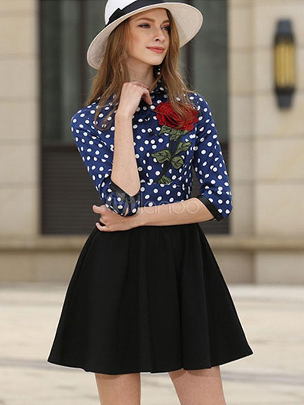 Buy Blue Skater Dress Turndown Collar Half Sleeve Polka Dot Short Dress Flare Dress For Women for $32.29 in Milanoo store