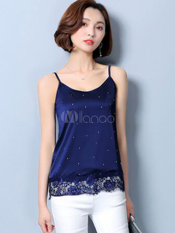 Women Blue Camis Lace Straps Sleeveless Silk Sexy Summer Top-No.1 ... 461ddc9b6ed0