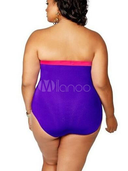 Plus Size Swimsuit Black Strapless Cut Out Two Tone Women ...