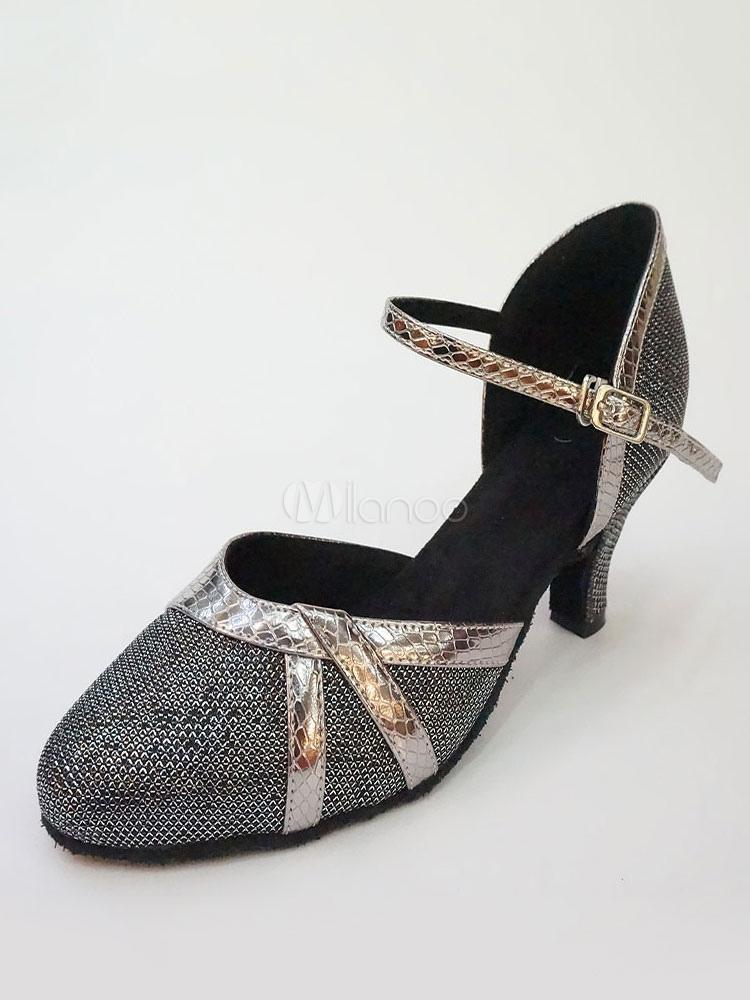 Zapatos de baile negros Zapatos de salón de mujeres Zapatos de baile latino de punta redonda F8Lqxu1Y