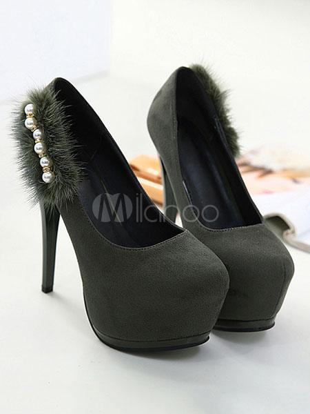 Tacones altos negros Plataforma de gamuza Perlas Detalle Slip On Pumps Zapatos de mujer FnH1xQ4