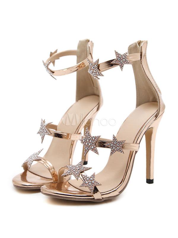733adb881fceb High Heel Sandals Women Shoes Gold Open Toe Star Rhinestones Detail Sandal  Shoes