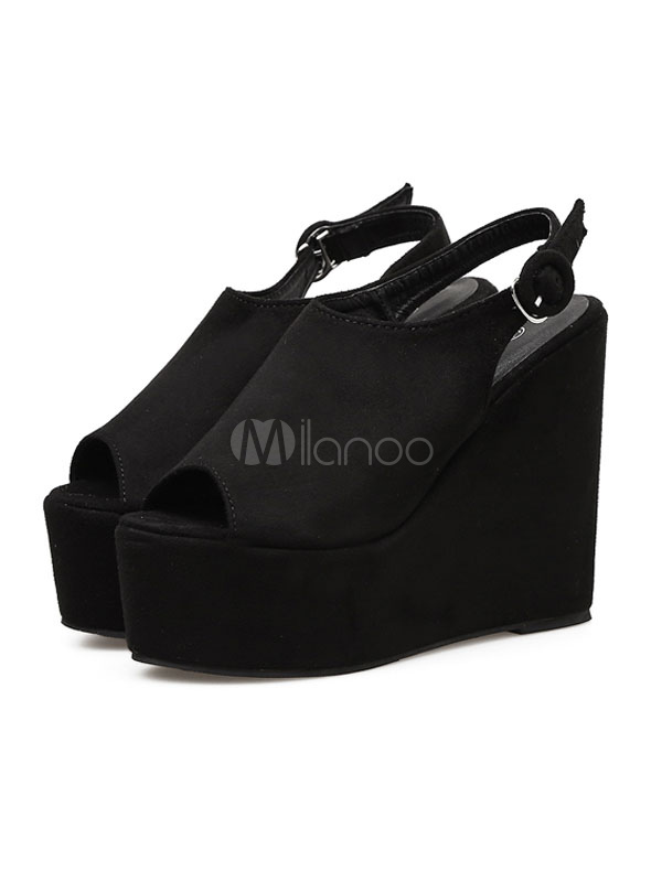 Buy Black Wedge Sandals Women Shoes Open Toe Slingbacks Platform Sandal Shoes for $31.49 in Milanoo store