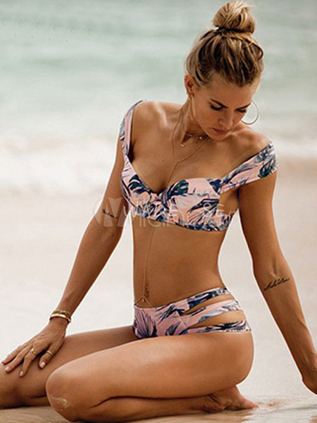 Two Piece Swimsuit Cut Out Sleeveless Leaf Print Push Up Sexy Swim Bathing Suit For Women