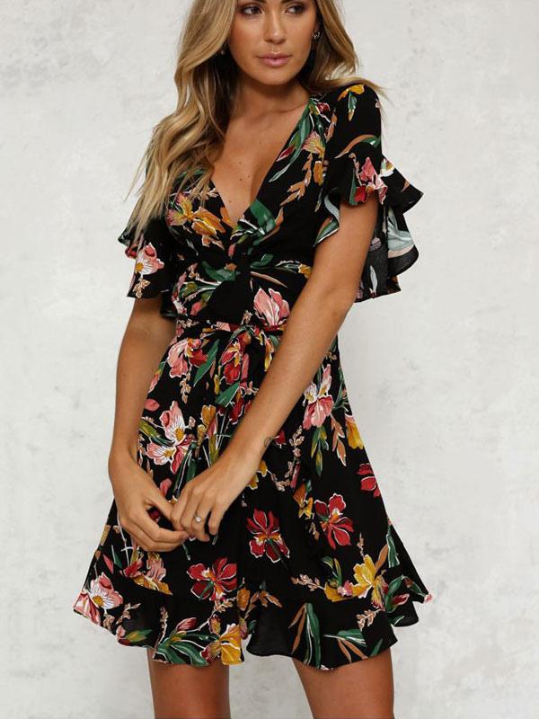 Flada Negra Con Flores 2019 Cuello En V Volantes Manga Corta Estampado Mini Vestido Para Verano