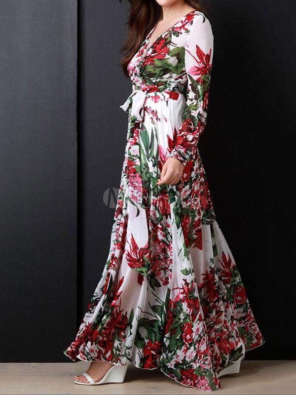 1c31c38c74 ... Vestido largo de gasa estampado floral con cuello en V manga larga de  gasa-No ...