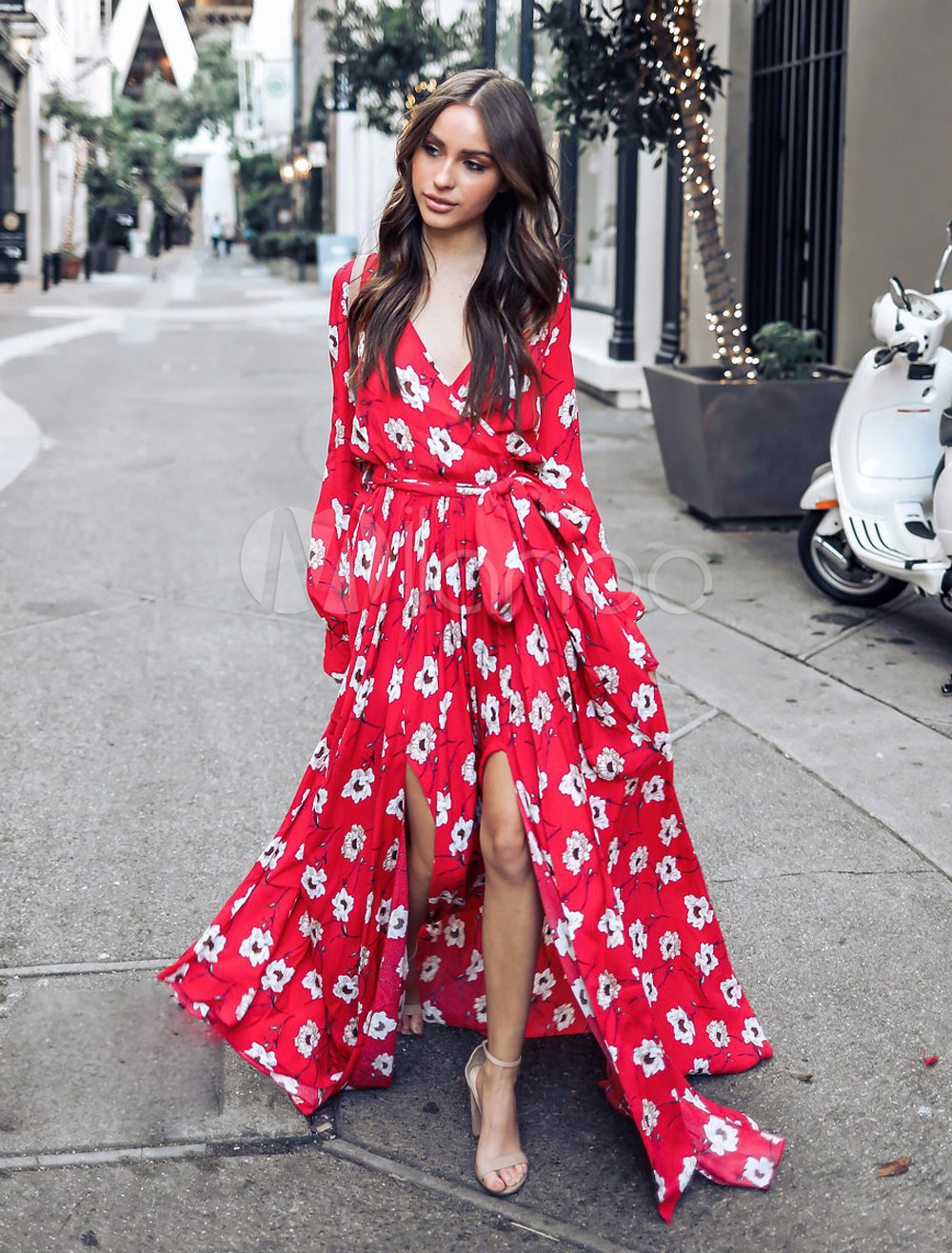 3054b5da9da ... Red Maxi Dress Women Floral Tea Dress V Neck Long Sleeve Chiffon Split Summer  Dress-. 1. 40%OFF. Color Ture Red